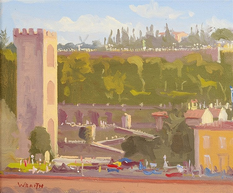 ROBBIE WRAITH (b.1952) 'Lungarno Serristor, Florence', signed, oils on