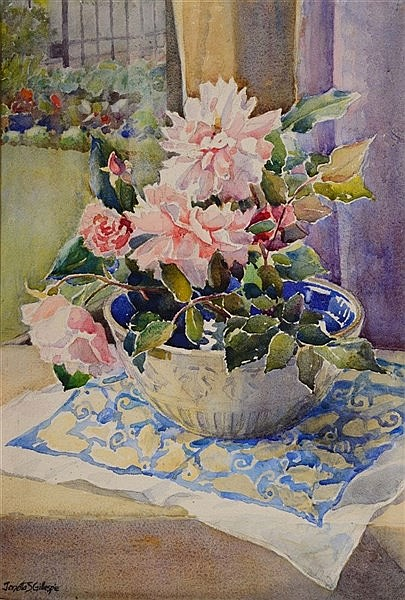 JANETTA S GILLESPIE (1876 - 1956) Still life, a blue and white bowl of