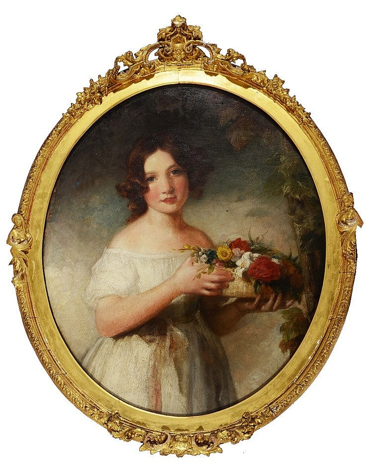 * POLLITT (19TH CENTURY) Portrait of a young girl wearing a white froc