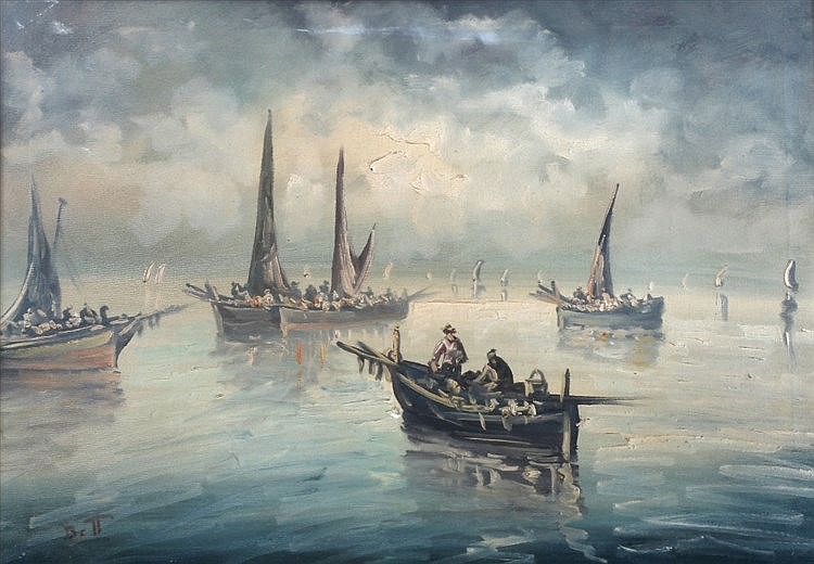ELIO BOTT (20TH CENTURY) Fisher folk in sailing vessels in calm waters