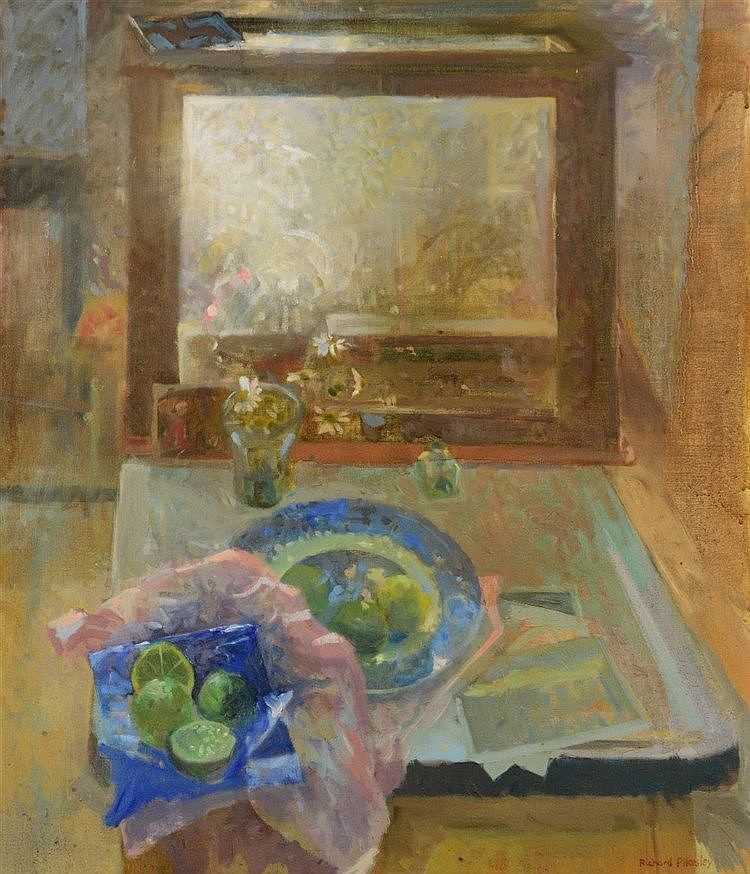 RICHARD PIKESLEY (b. 1951) Still life with light box, signed, oils on