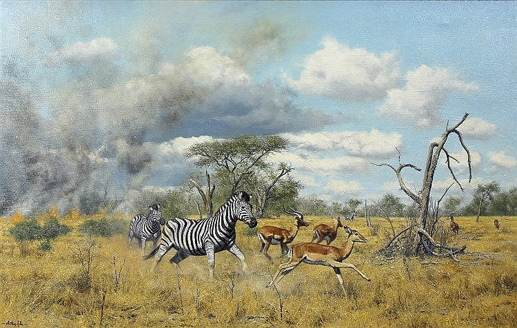 ANTHONY GIBBS (b. 1951) Zebra and impala escaping a bush fire, signed,