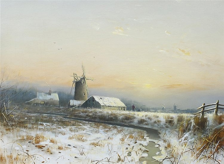 PETER METCALF (1944-2004) A frozen river landscape with windmill, sign