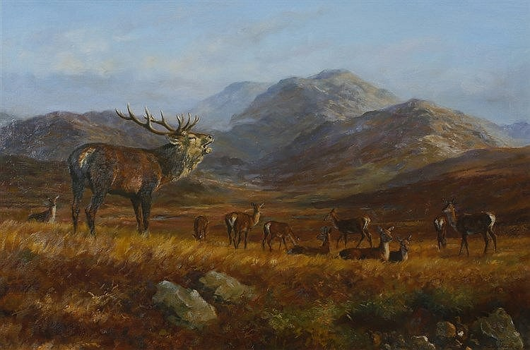 FREDERICK J. HAYCOCK (b. 1948) A mountain landscape with stag and deer