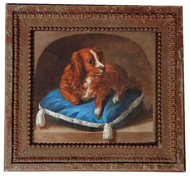 18TH CENTURY CONTINENTAL SCHOOL Portrait of a King Charles Spaniel upo