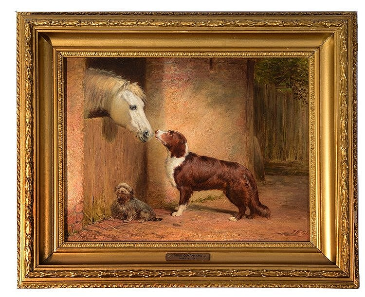 JAMES WILLIAM COLE (act. 1849 - 1889) 'Good Companions', signed, oils