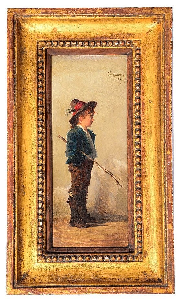 KARL SCHLOSSER (1832 - 1914) An Austrian peasant boy, signed and dated
