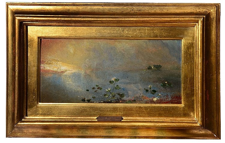 JOSE VILLEGAS Y CORDERO (1844/48 - 1921) 'Lily Pool at Sunset', signed