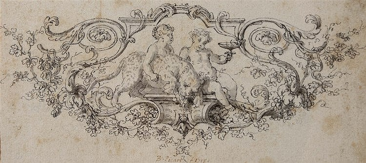 BERNARD PICART (1673 - 1733) Design for a cartouche, signed and dated