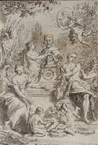 BERNARD PICART (1673 - 1733) Classical figures and cherubs adorning a