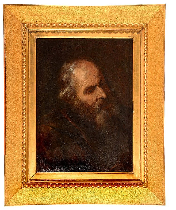 FOLLOWER OF GUIDO RENI Head and shoulders portrait of a hermit, oils o
