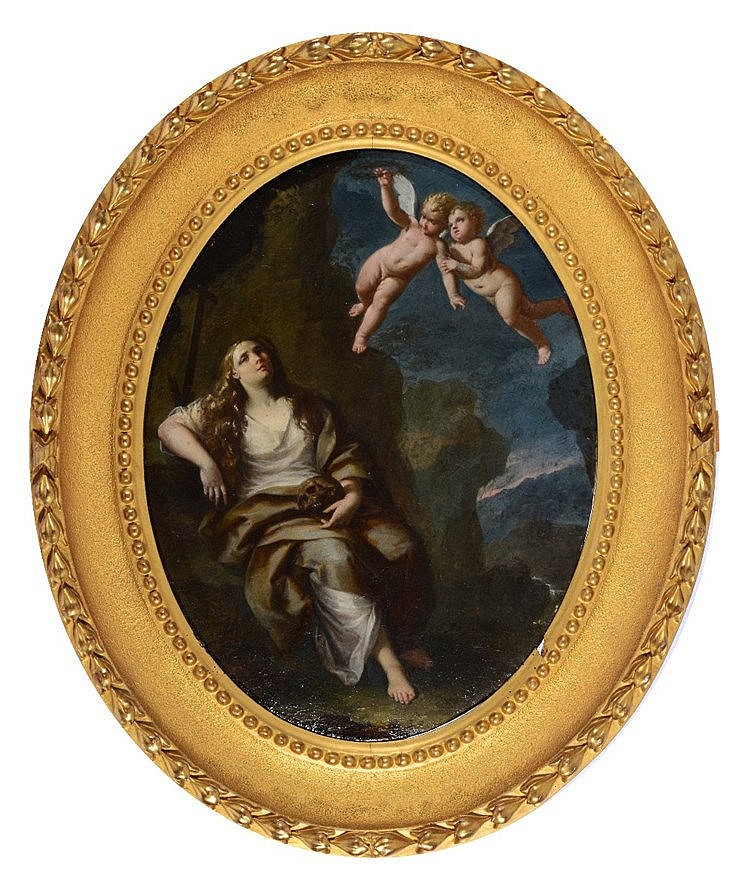 18TH CENTURY ITALIAN SCHOOL The Penitent Magdalene with two angels in