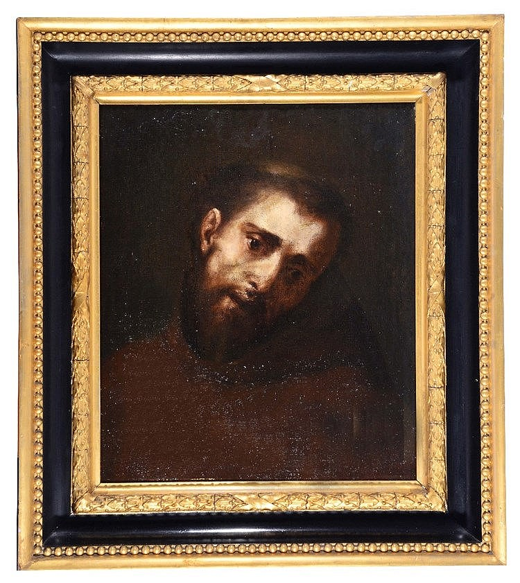 17TH CENTURY ITALIAN SCHOOL The head of St Francis, oils on canvas, 54