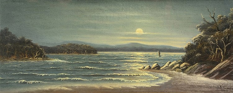 J * DE VERE (19TH/20TH CENTURY) Moonlit coastal waters with solitary f