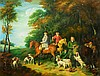 MANNER OF GEORGE STUBBS A hunting party, oils on canvas, 72 x 91cm; an