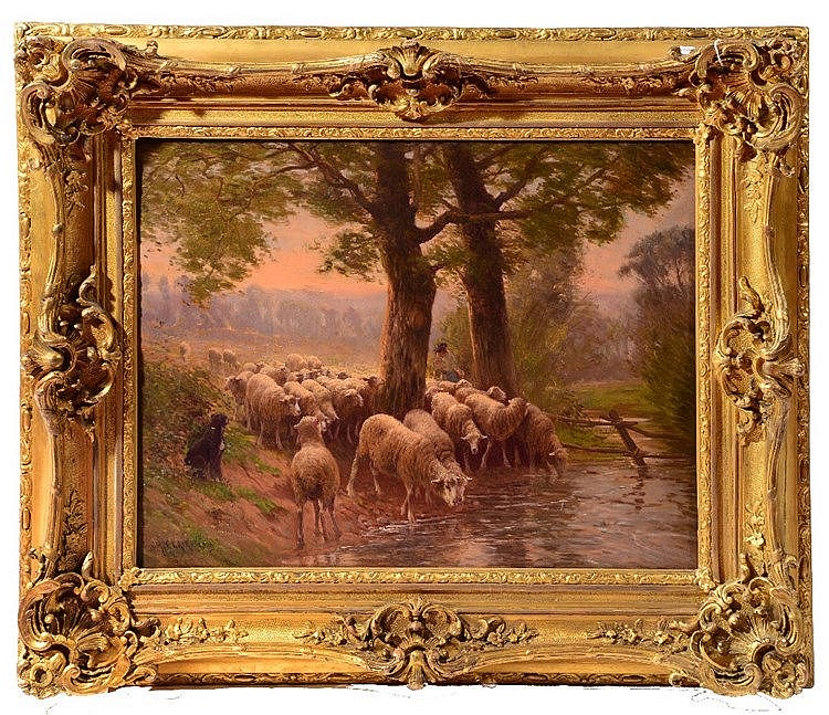 CHARLES CLAIR (1860-1930) A flock of sheep with shepherd and sheep at