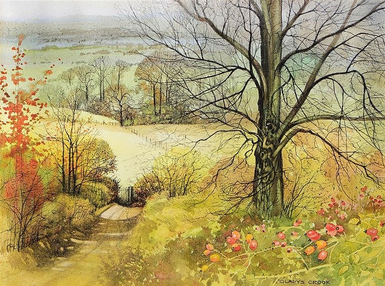 GLADYS CROOK 'Bucks Landscape', signed, watercolour, 32 x 41 cm.