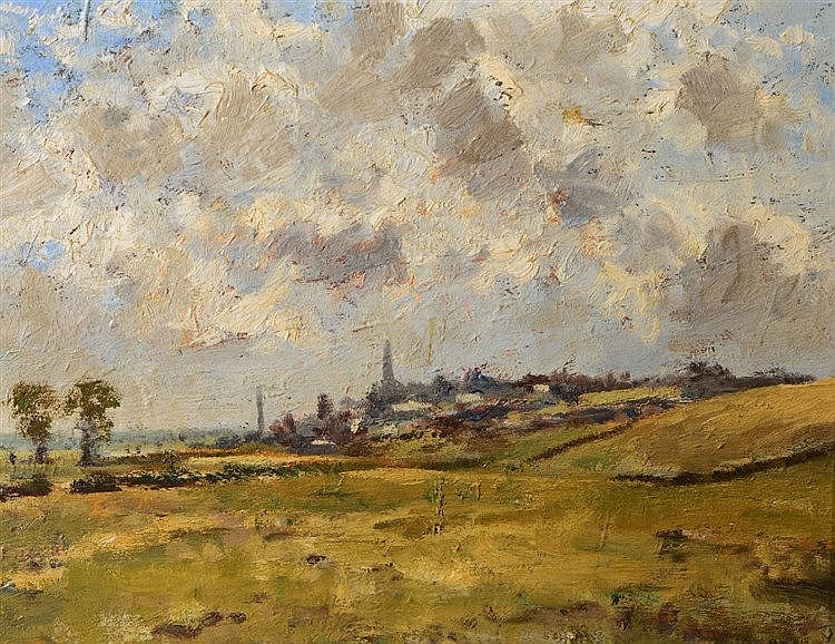 20TH CENTURY ENGLISH SCHOOL Landscape with distant buildings, oil on b
