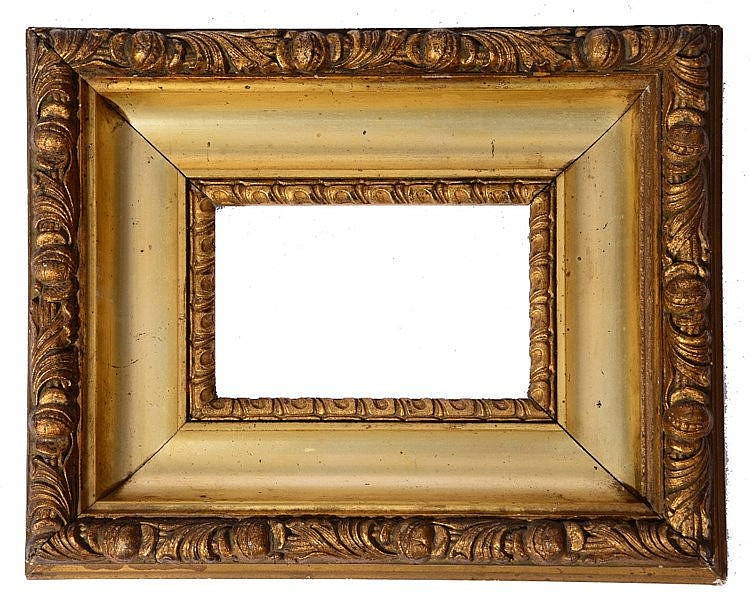 A 19TH CENTURY GILT GESSO CUSHION-MOULDED FRAME with foliate border, r