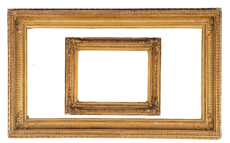 A 19TH CENTURY GILT GESSO FRAME with fluted and stylised flowerhead decorat