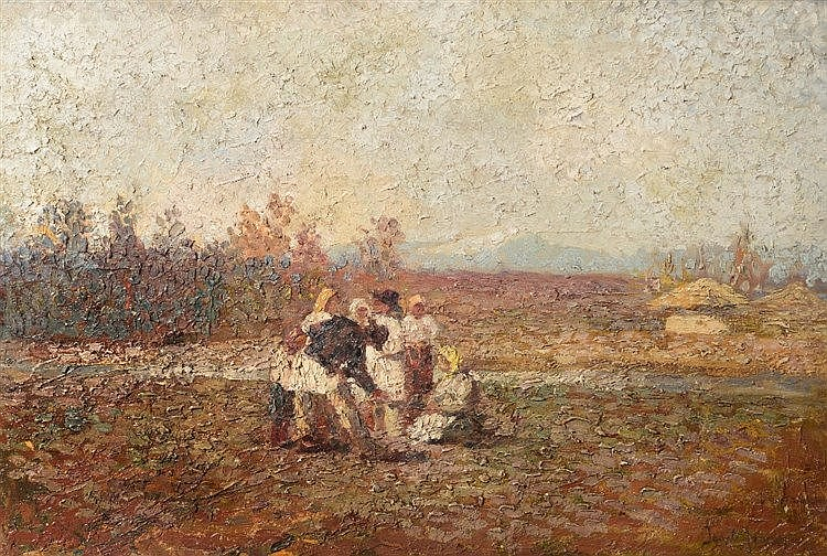 20TH CENTURY CONTINENTAL SCHOOL Figures in a mountain landscape, indis
