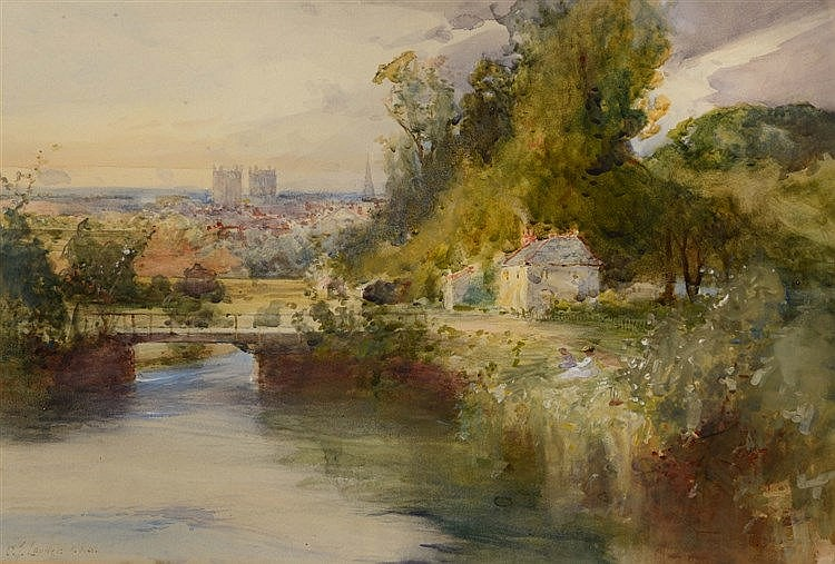 CHARLES JAMES LAUDER (1841-1920) 'Exeter from the Canal', signed, wate