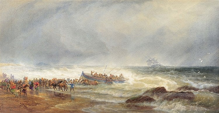 EDWARD DUNCAN (1803-1882) Launching the lifeboat, signed and dated 185