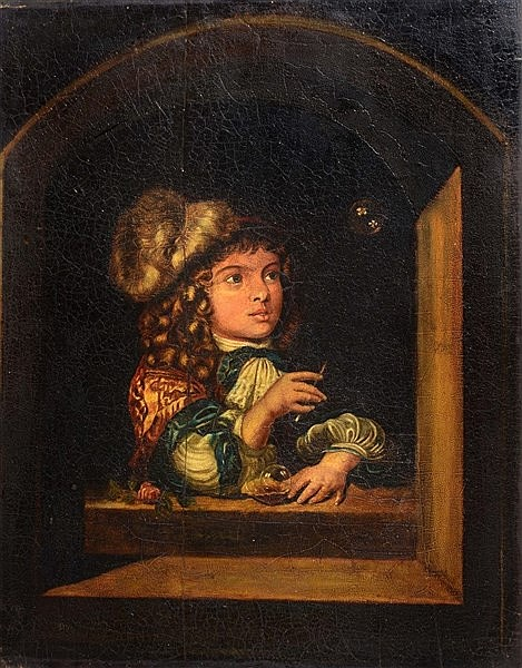 AFTER CASPAR NETSCHER A boy blowing bubbles, oil on panel, 7 x 37 cm (