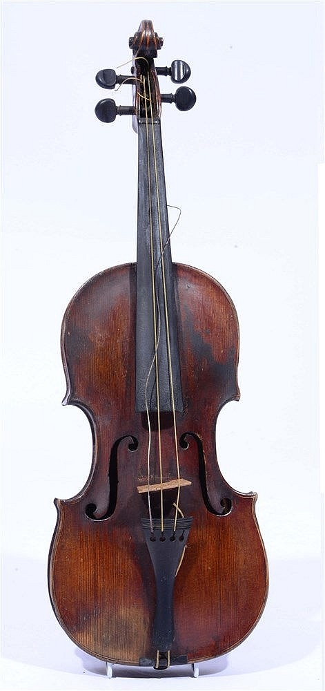 A 19TH CENTURY VIOLIN with two piece back together with two bows in burr wa