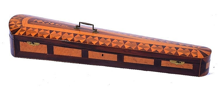A ROSEWOOD AND BIRD'S EYE MAPLE VENEERED VIOLIN CASE, the hinged lid inlai
