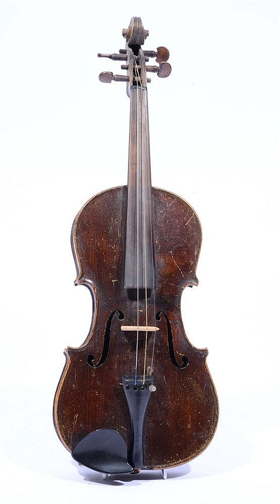 A FRENCH VIOLIN, deep brown in colour, together with bow and case
