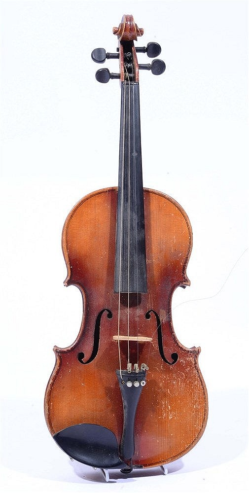 A VIOLIN WITH TWO PIECE BACK with printed label inscribed 'Christian Meisel