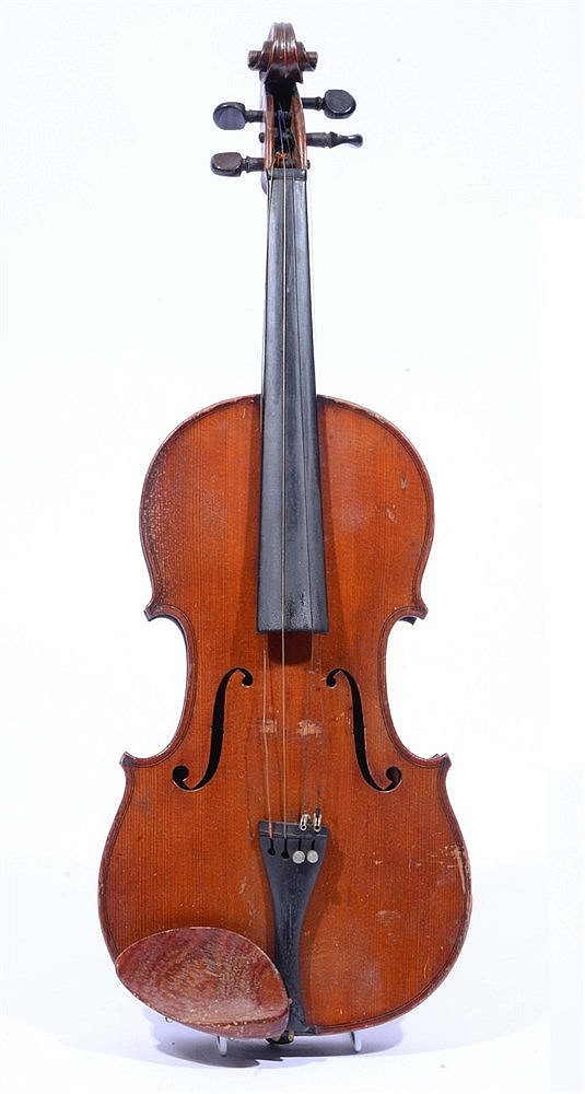 A VIOLIN WITH TWO PIECE BACK together with a small bow, cased