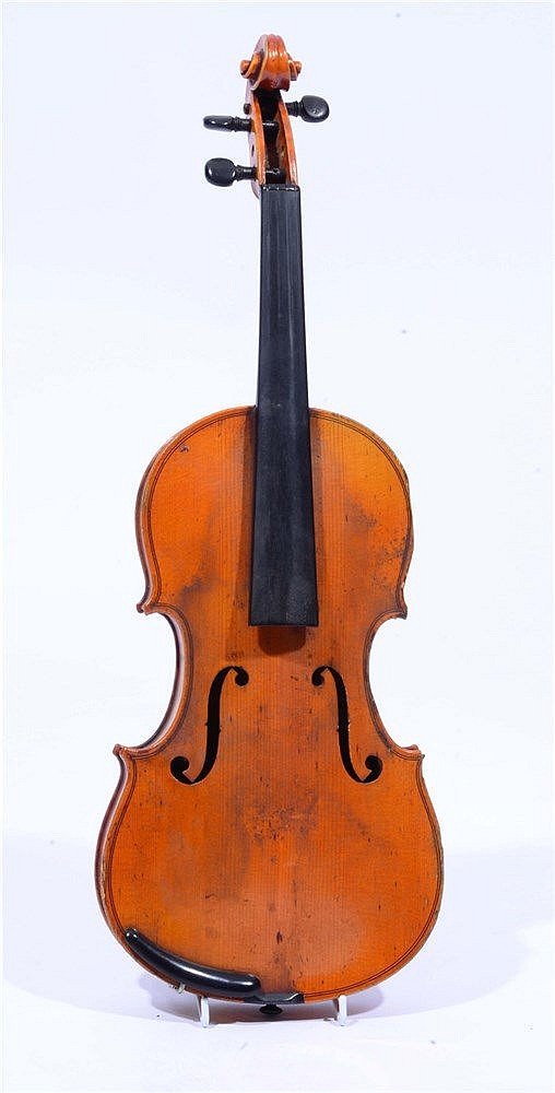 A VIOLIN WITH SINGLE PIECE BACK and stamped 'Breton', together with bow, ca