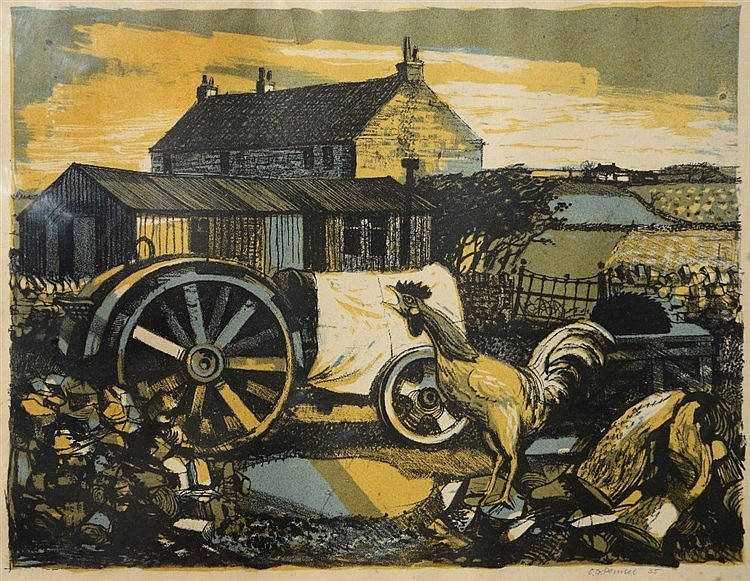 OLIVER GEORGE PEMSEL (1910-1989) Farmyard with cockerel, lithograph, p