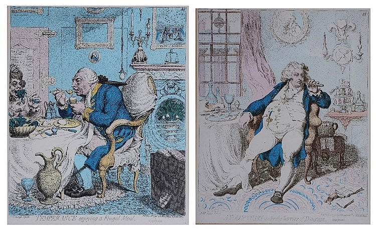 AFTER JAMES GILLRAY  'Temperance enjoying a frugal meal', 'A voluptuar