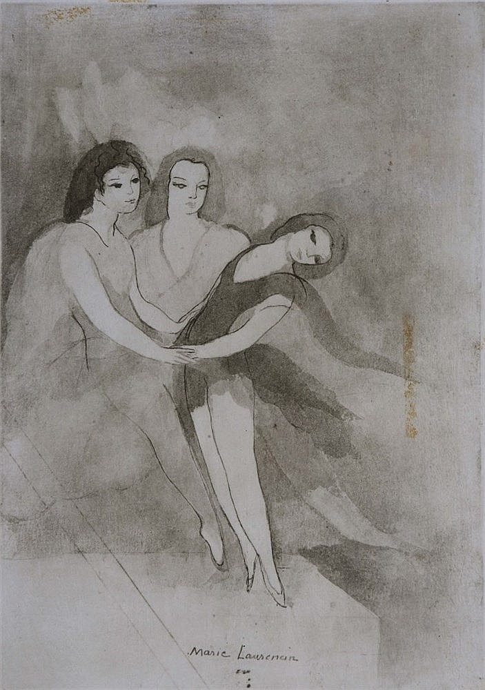 MARIE LAURENCIN 'The Dancer', etching, 37 x 28cm; and ? R Alore - two