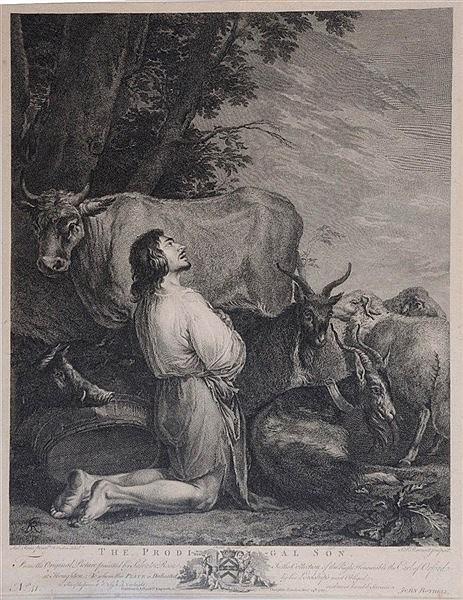 S F RAVENET, AFTER SALVADOR ROSA 'The Prodigal Son', engraving, publis