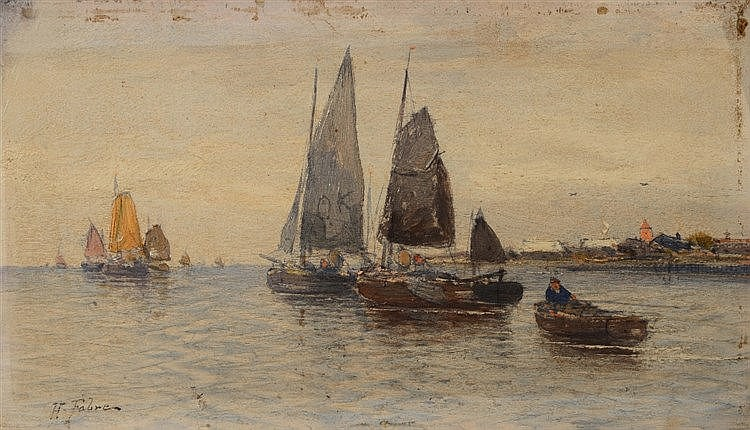 HENRI FABRE (1880-1950) Sailing vessels off the coast, signed, oil on