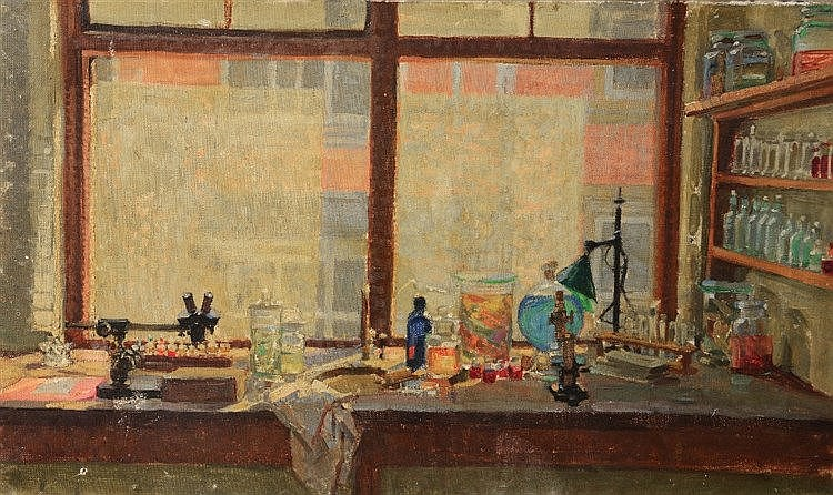 20TH CENTURY ENGLISH SCHOOL The laboratory bench, oil on canvas, 30.5