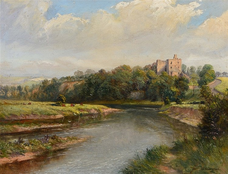 J* VALENTINE Norham Castle, Northumberland, signed, oils on canvas, 4