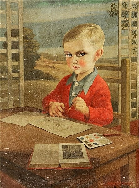 MACKENNEY Young boy sketching at a table, signed, oils on canvas, 65 x