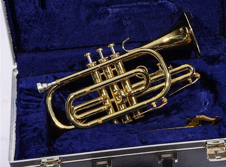 AN 'AMATI KRASLICE, CZECHOSLOVAKIA' BRASS CORNET, numbered ACR201 in fitted