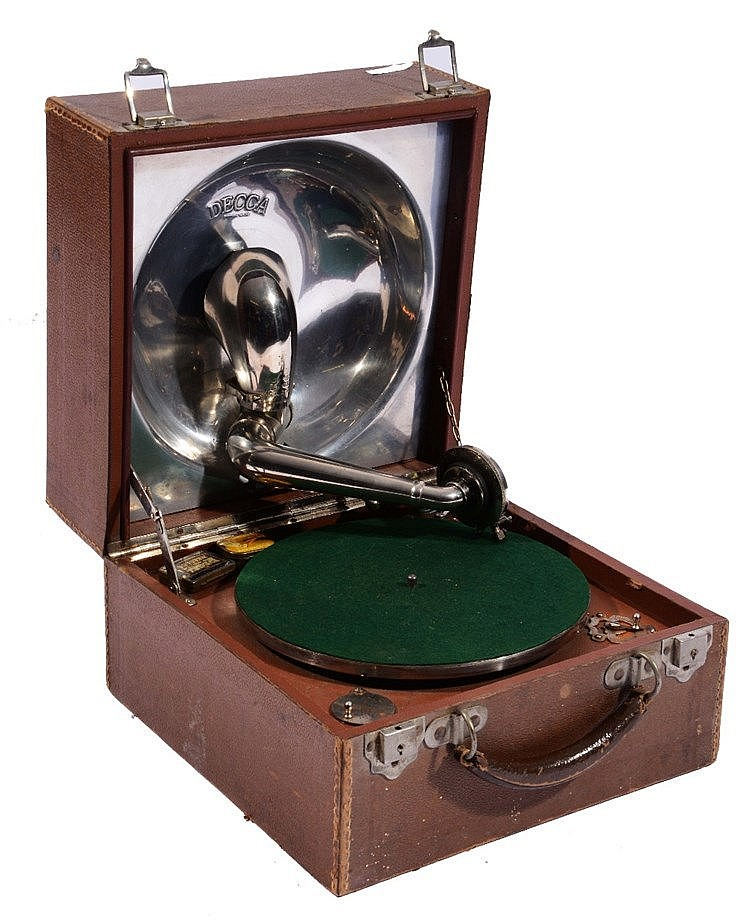 A DECCA PORTABLE WIND-UP GRAMOPHONE PLAYER in brown Morocco leather carryin