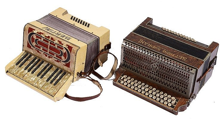 A SETTIMIO SOPRANI ITALIA PIANO ACCORDION in case; and a Bertini piano acco