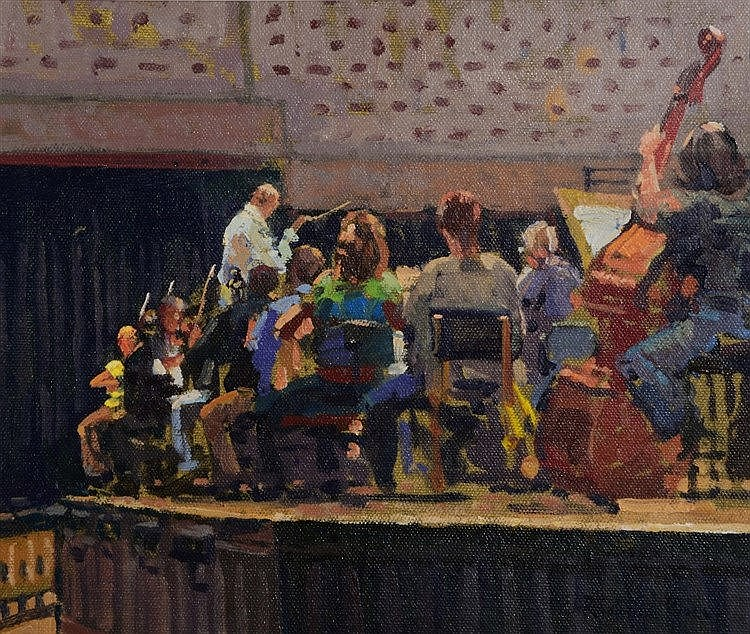 RICHARD PRICE (b.1962) 'The Rehearsal', signed, oils on canvas board,