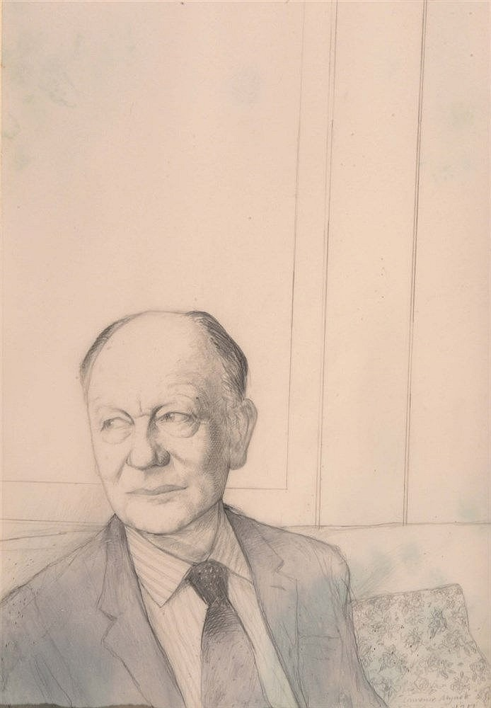 LAWRENCE MYNOTT (b. 1954) Sir John Gieulgud, signed and dated 1981, pe