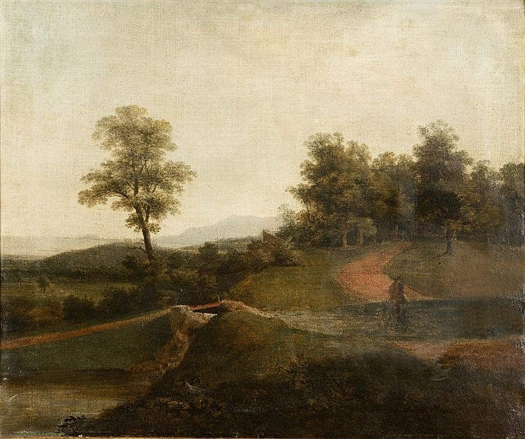 ENGLISH SCHOOL (18TH/19TH CENTURY) Landscape with figure on horseback