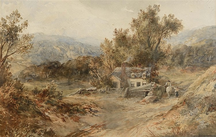 ALBERT POLLITT (1856-1926) Landscape with travellers approaching a cot