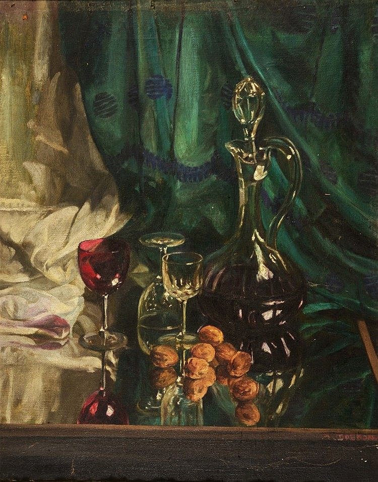 MRS M.E.P. DOBSON Still life with decanter and wine glasses and nuts,